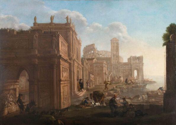 Architectural capriccio of Arco di Costantino, Santa Maria in Cosmedin and Coliseum