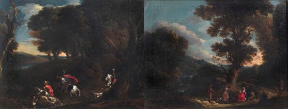Coppia di dipinti raffiguranti paesaggi e scene di caccia