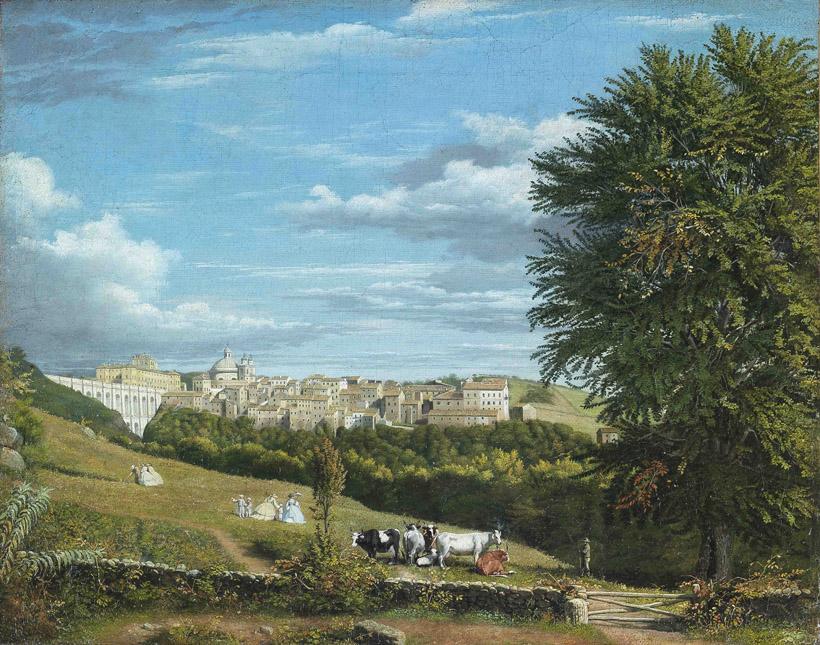 Dipinto ad olio su tela raffigurante paesaggio con sfondo del ...