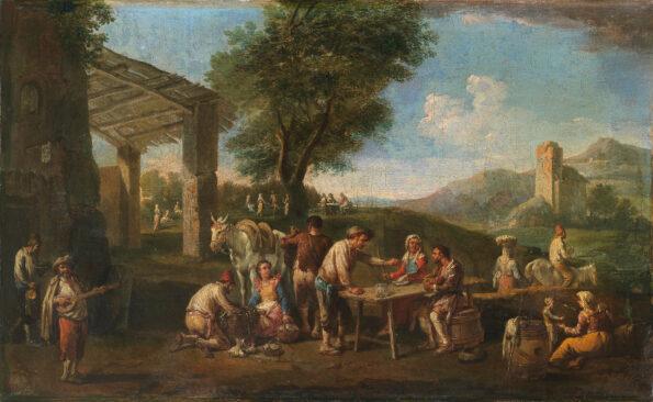 Convivio di viandanti in un paesaggio romano