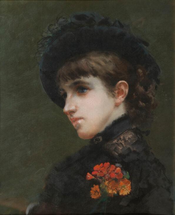 Pastello su carta raffigurante ragazza in nero con cappello e fiori