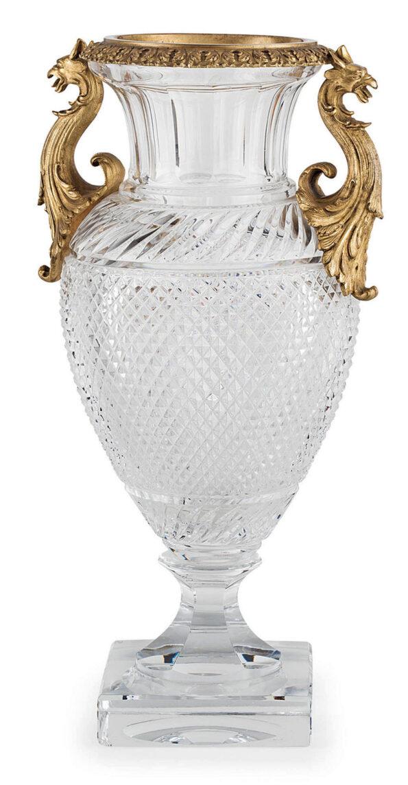 Vaso in cristallo sfaccettato con applicazioni in bronzo dorato