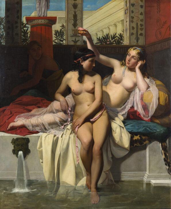 Dipinto raffigurante ancelle in un bagno pompeiano