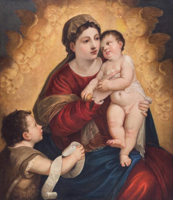 Dipinto in prima tela raffigurante Madonna con bambino e San Giovannino