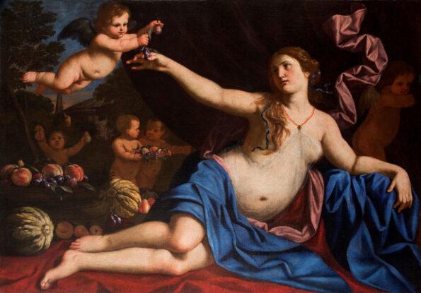 Dipinto raffigurante l'allegoria della bellezza con la collaborazione della natura morta di frutta di Abraham Brueghel