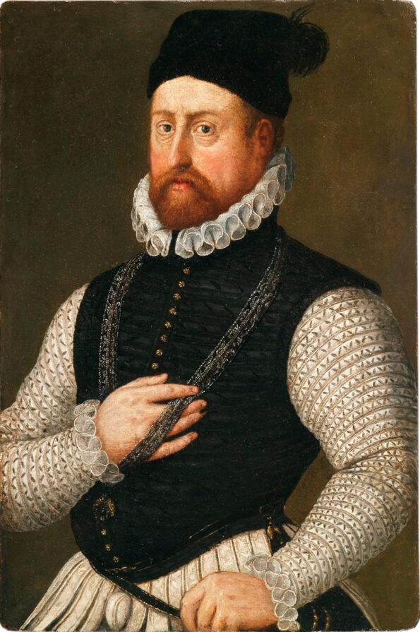 Oil on paper depicting Alfonso I d'Este