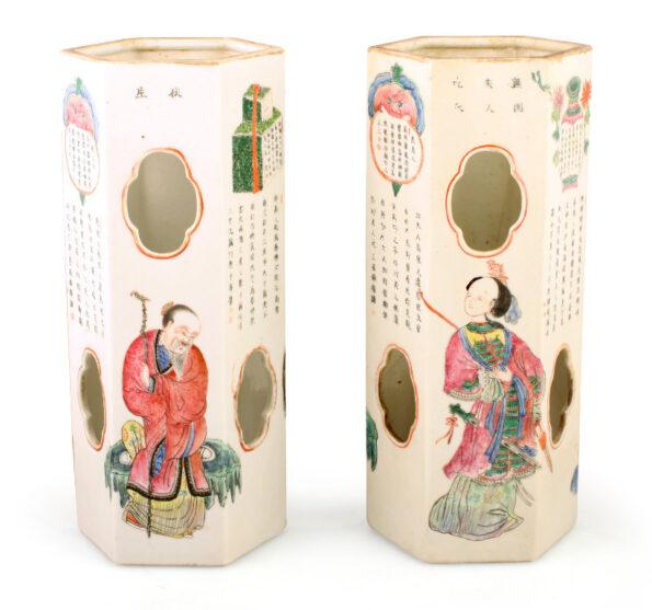 Pairs of hexagonal chinese vases in painting ceramic