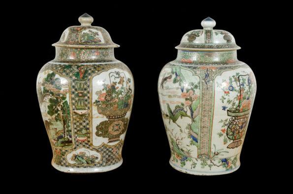 Coppia di vasi cinesi famiglia verde