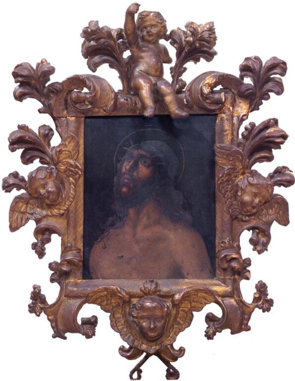 Dipinto su ardesia raffigurante Cristo entro importante cornice barocca