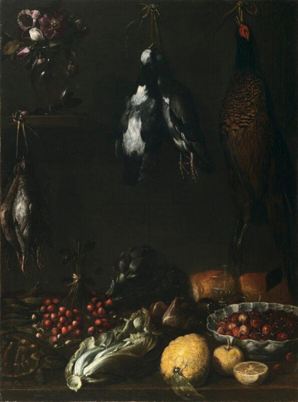 Natura morta con cacciagione ortaggi frutta vaso in vetro e tartaruga