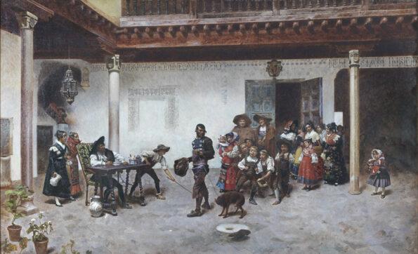Dipinto ad olio su tela raffigurante scena di cortile con personaggi