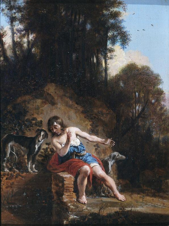Olio su tavola raffigurante fanciullo con cani entro paesaggio