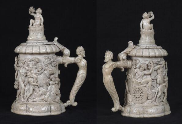 Tankard in avorio interamente scolpito a mano corpo centrale con la raffigurazione di Bacco ebbro