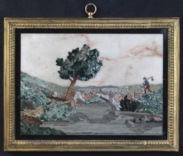 Tarsia in marmi policromi raffigurante paesaggio con viandante