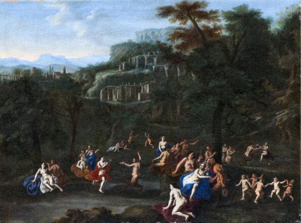 Dipinto raffigurante Paesaggio con putti Ninfe e satiri festanti