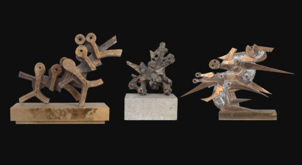 """Tre sculture in bronzo raffiguranti : """"La danza africana"""", """"L'esplosione"""" e """"Volo di pace"""""""