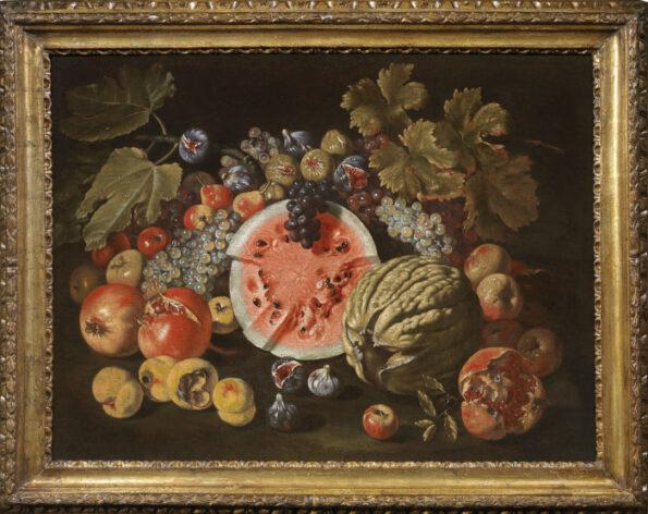 Natura Morta con anguria, melone, uva, fichi e altri frutti