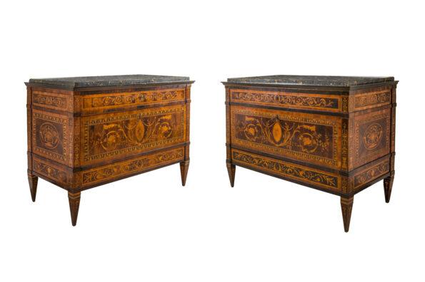 Pair of Genoese coffers, marble tops of portoro